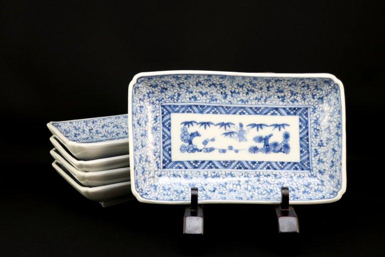 伊万里萩唐草文長皿 五枚組 / Imari Rectangular Blue & White Plates  set of 5