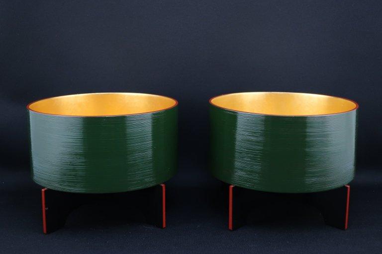 青地内金箔盃洗 一対 / Lacquered 'Haisen' Sake cup Washing Bowl  1 pair