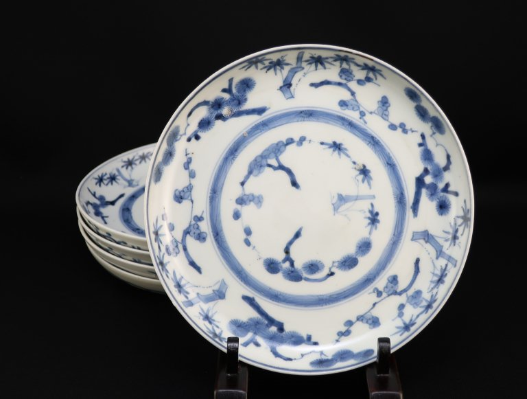 伊万里染付松竹梅文六寸皿 五枚組 / Imari Blue & White Plates with the picture of Pine, Bamboo, Plum  set of 5
