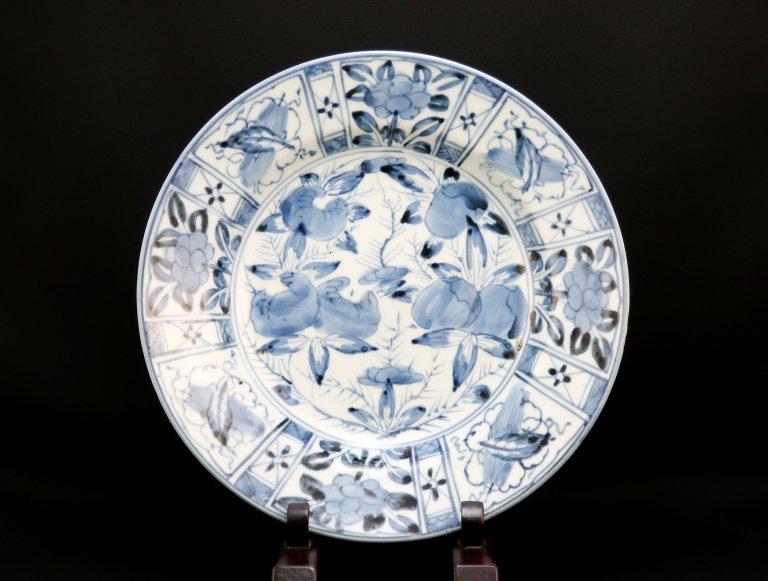 伊万里染付芙蓉手牡丹柘榴文大皿 / Imari Large Blue & White Plate