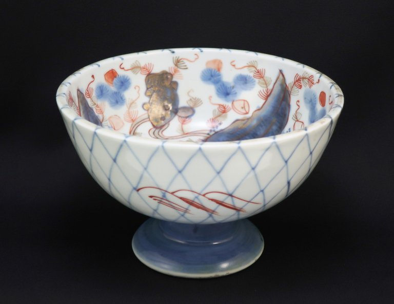 伊万里色絵金網手文盃洗 / Imari Polychrome 'Haisen' Sake cup Washing Bowl