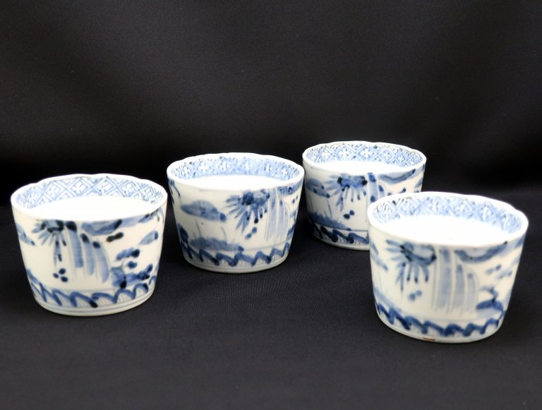 伊万里染付大蕎麦猪口 四客組 / Imari Large Blue & White Soba Cups  set of 4