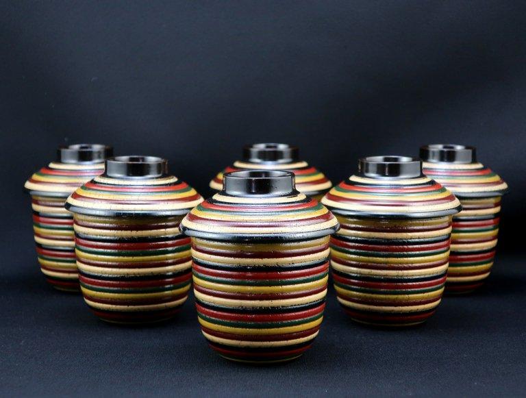 独楽塗小吸物椀(箸洗)六客組 / Lacquered Small Soup Bowls  se t of 6