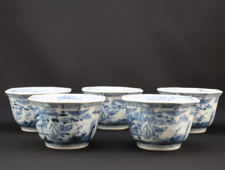 伊万里染付八角向付 五客組 / Imari Octagonal Blue & White 'Mukoduke' Cups  set of 5