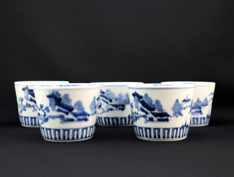 伊万里染付山水文大蕎麦猪口 五客組 / Imari Large Blue & White 'Soba' Cups  set of 5