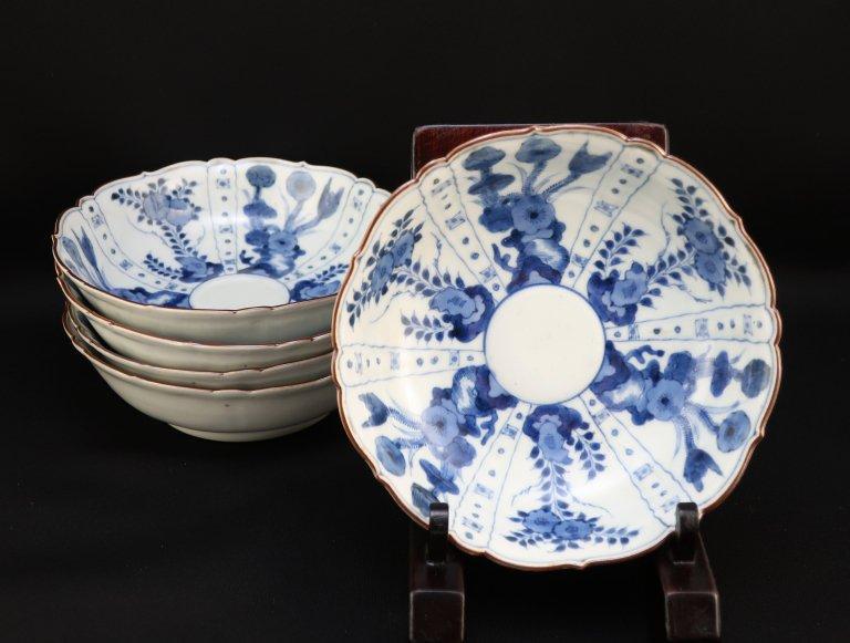 伊万里染付芙蓉手なます皿 五枚組 / Imari Blue & White 'Namasu' Bowls  set of 5
