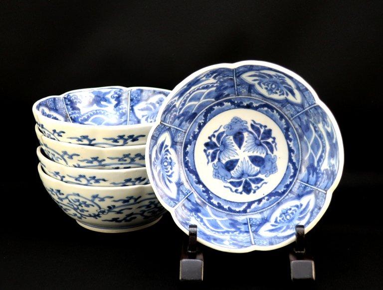 伊万里染付梅花形なます皿 五枚組 / Imari Blue & White 'Namasu' Bowls  set of 5