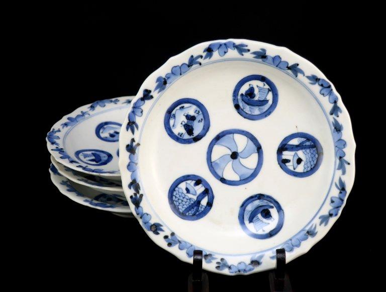 伊万里染付丸文五寸半皿 五枚組 / Imari Blue & White Plates  set of 5