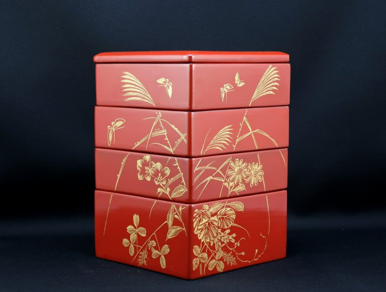 朱塗沈金秋草蒔絵小重箱 / Red-lacquered Small 'Jubako' Boxes