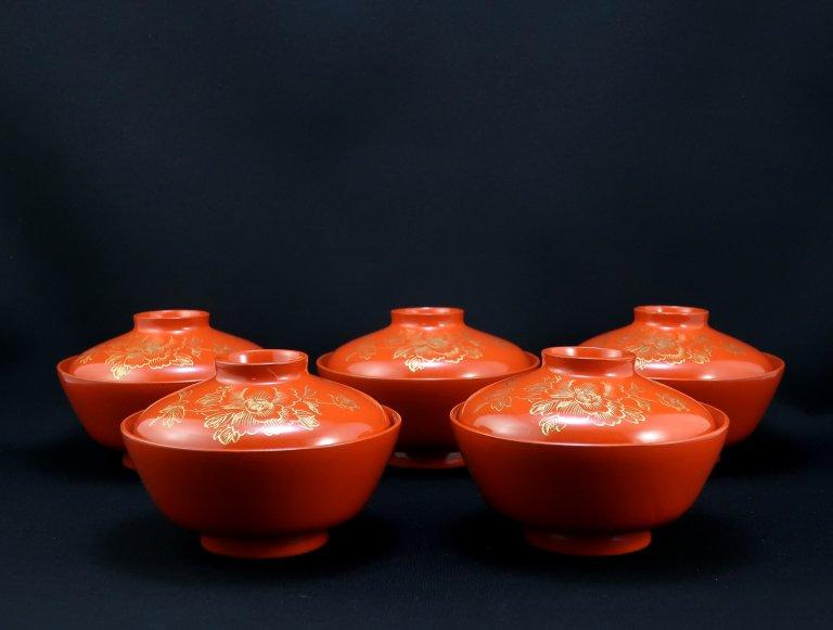 朱塗沈金蒔絵吸物椀 五客組 / Red-lacquered Soup Bowls  set of 5