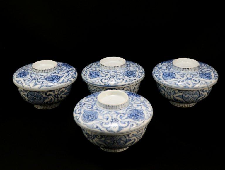 伊万里線描染付蓋茶碗 四客組 / Imari Blue & White Bowls with Lids  set of 4