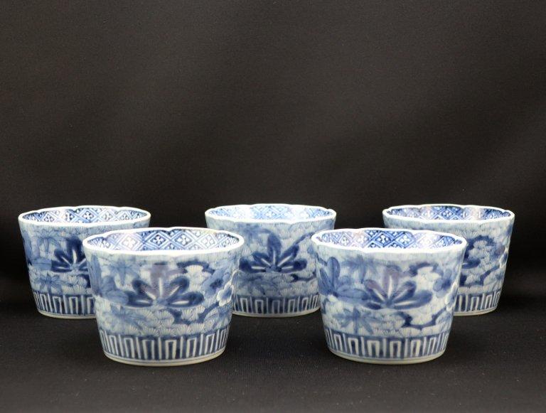 伊万里染付松竹梅文大蕎麦猪口 五客組 / Imari Large Blue & White Soba Cups  set of 5