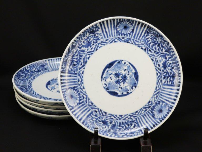 伊万里染付七寸皿 五枚組 / Imari Blue and White Plates  set of 5