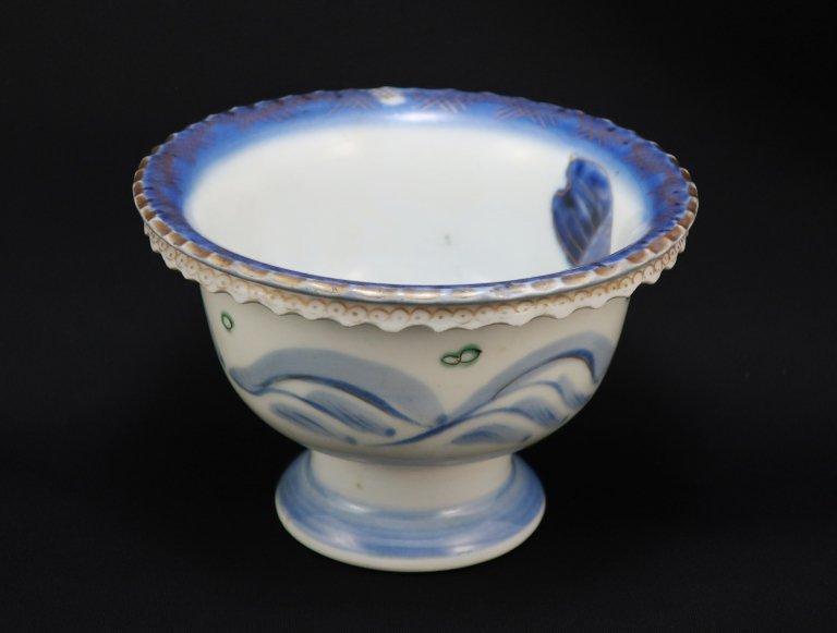 伊万里色絵鯉文小盃洗 / Imari  Small 'Haisen' Sake cup washing Bowl