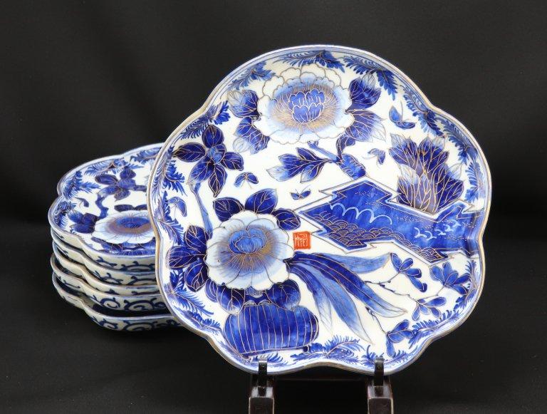 伊万里ベロ藍染付変形皿 六枚組 / Imari Large Blue & White Plates  set of 6