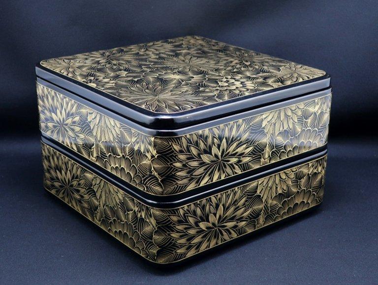 黒塗沈金蒔絵重箱 / Black-lacquered 'Jubako' Food Boxes