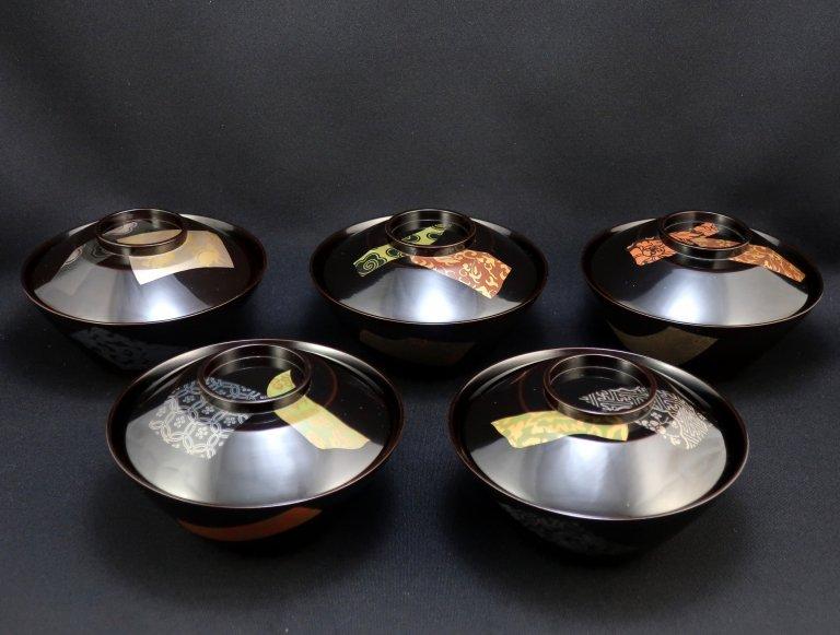春生銘物裂蒔絵吸物椀 五客組 / Black-lacquered Soup Bowls with Lids  set of 5
