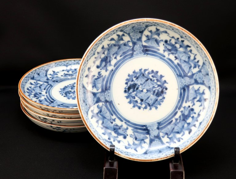 伊万里染付貝尽文六寸皿 五枚組 / Imari Blue & White Plates with the picture of Shells  set of 5