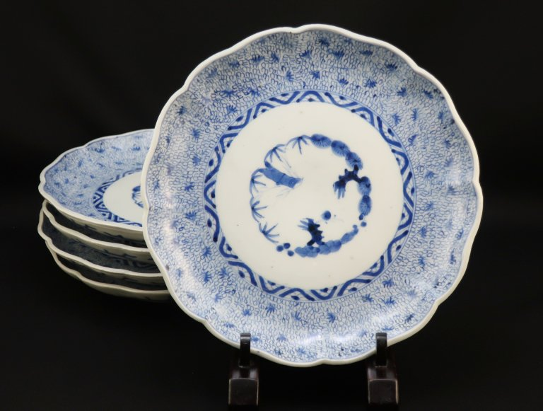 伊万里染付微塵唐草文七寸皿 / Imari Blue & White Plates with the pattern of 'Mijinkarakusa'  set of 5