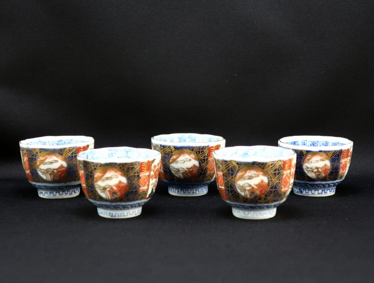 伊万里色絵覗猪口 五客組 / Imari Small Polychrome Cups  set of 5