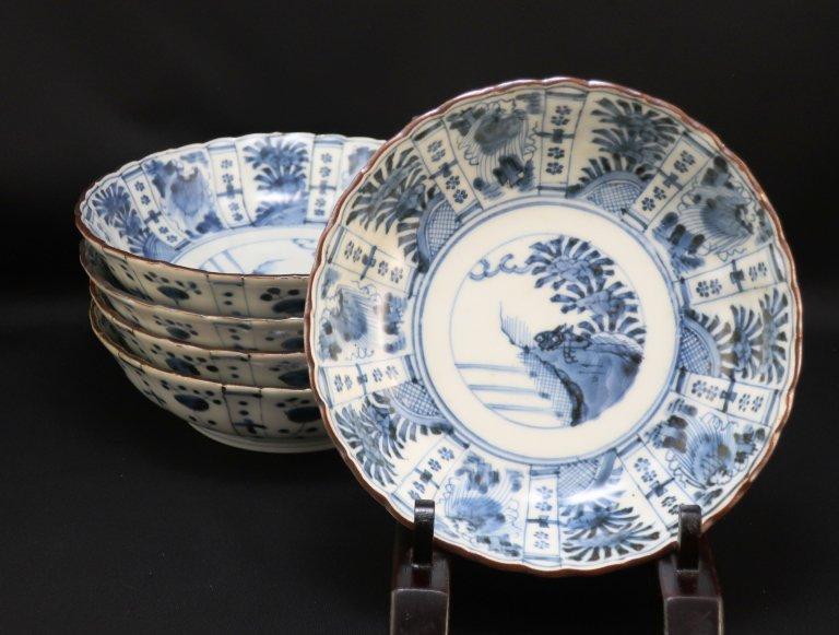 伊万里染付芙蓉手なます皿(浅め)五枚組 / Imari Blue & White Plates  set of 5