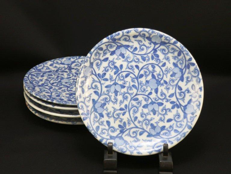 伊万里印判染付玉唐草文五寸皿 五枚組 / Imari 'Inban' Blue & White Plates  set of 5