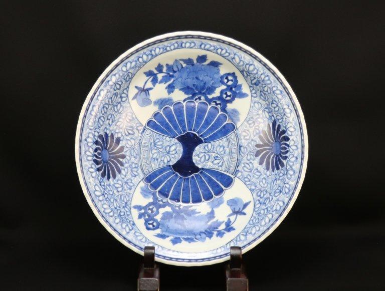 伊万里染付団扇牡丹文大鉢 / Imari Large Blue & White Bowl with the picture of Fans