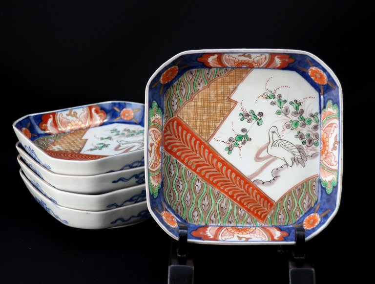 伊万里色絵角皿 五枚組 / Imari Square Polychrome Plates  set of 5