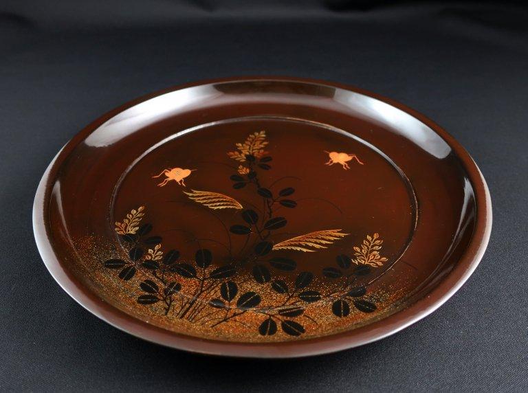 漆秋草蒔絵八寸皿 五枚組 / Lacquered Plates with 'Makie' picture of Autumn Flowers  set of 5