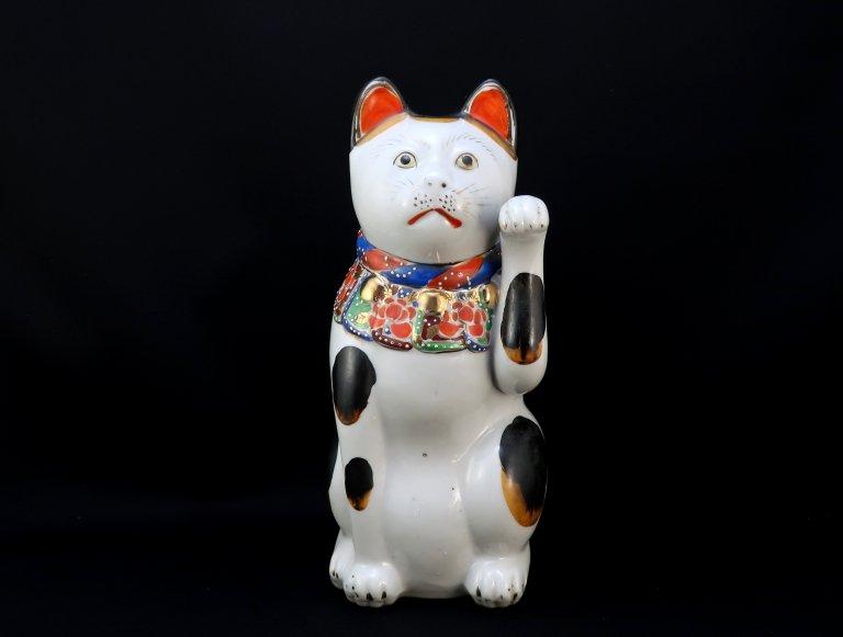 九谷色絵招き猫 大 / Kutani Large Beckoning Cat