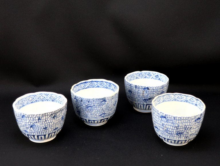 伊万里染付微塵唐草文向付 四客組 / Imari Blue & White 'Mukoduke' Cups  set of 4