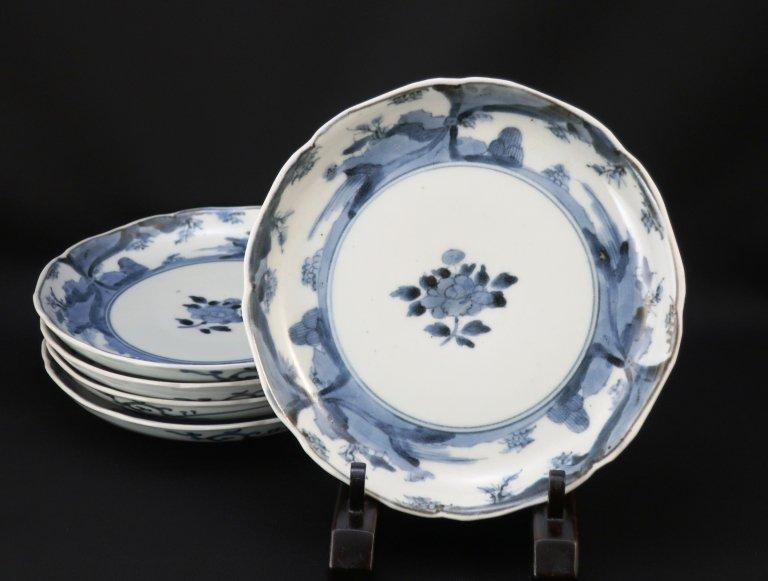 伊万里染付牡丹山水文六寸皿 五枚組 / Imari Blue & White Plates  set of 5