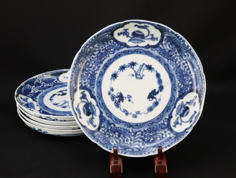 伊万里染付唐草宝珠文六寸皿 / Imari Blue & White Plates  set of 5