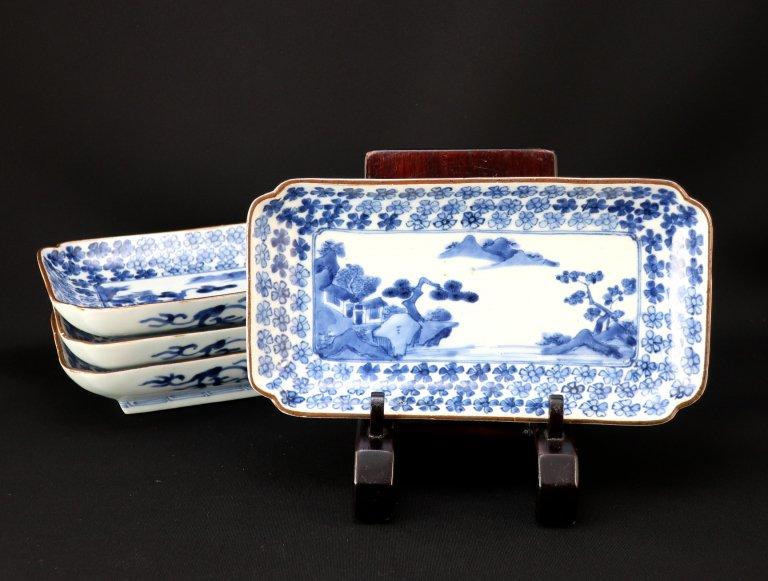 伊万里染付花山水文長皿 四枚組 / Imari Rectangular Blue & White Plates  set of 4