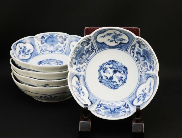 伊万里染付梅花型なます皿 五枚組 / Imari Blue & White Plum-flower shaped Bowls  set of 5