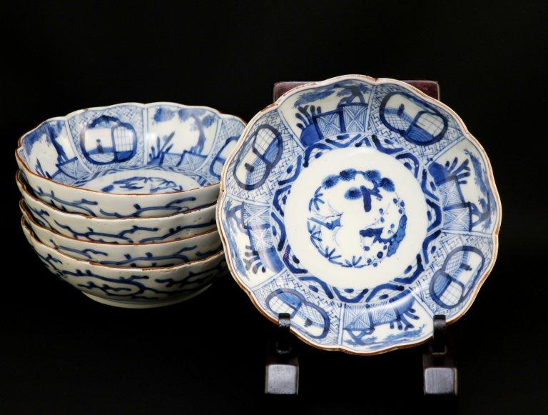 伊万里染付窓絵文なます皿 五枚組 / Imari Blue & White 'Namasu' Bowls  set of 5