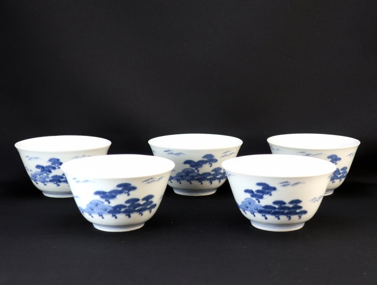伊万里松文染付向付 五客組 / Imari Blue & White 'Mukoduke' Cups  set of 5