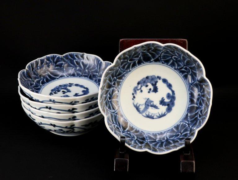 伊万里牡丹唐草文なます皿 五枚組 / Imari Blue & White 'Namasu' Bowls  set of 5