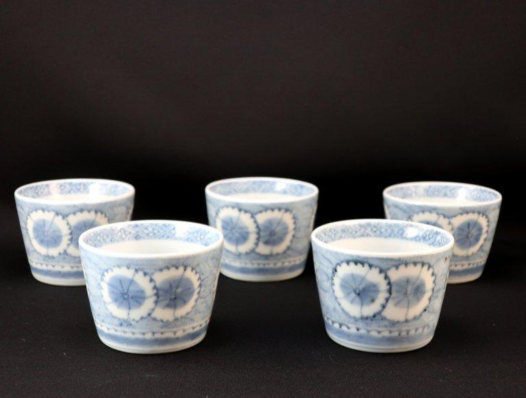 伊万里染付撫子文蕎麦猪口 五客組 / Imari Blue & White Soba Cups  set of 5
