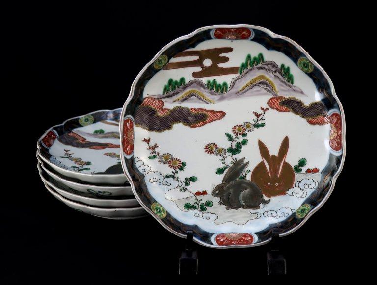 伊万里色絵兎文七寸皿 五枚組 / Imari Polychrome Plates witht picture of Rabbits  set of 5