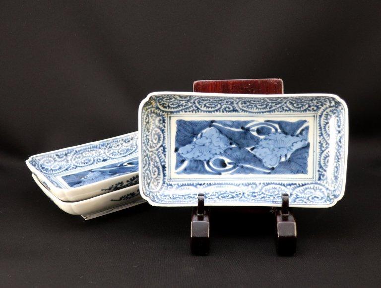伊万里染付蛸唐草文文長皿 三枚組 / Imari Rectangular Blue & White Plates  set of 3