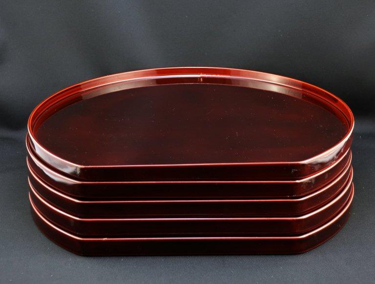紅春慶塗半月膳 五枚組 / Red 'Shunkei' lacquered Trays  set of 5