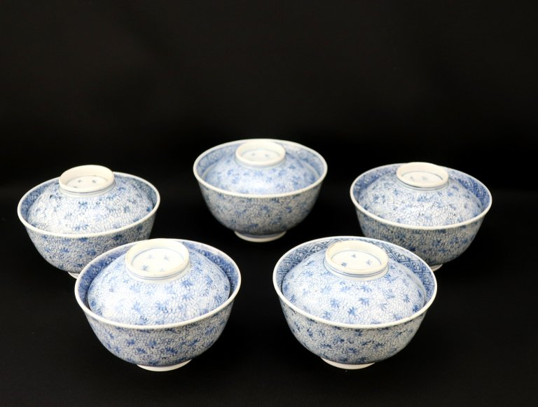伊万里染付微塵唐草文蓋茶碗 五客組 / Imari Blue & White Bowls with Lids  set of 5