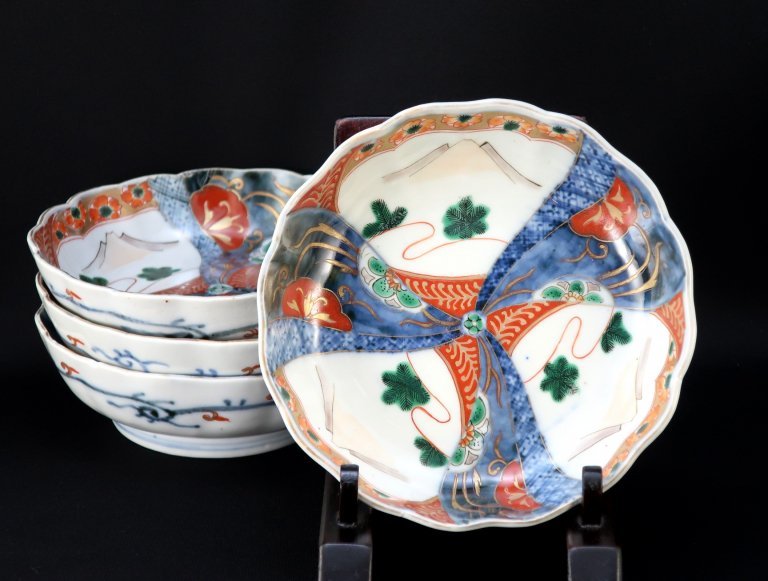 伊万里色絵富士山の図なます皿 四枚組 / Imari Polychrome 'Namasu' Bowls with the picture of Mt. Fuji  set of 4