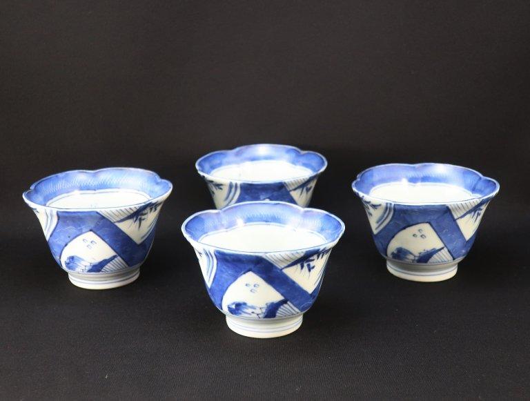 伊万里染付輪花形向付 四客組 / Imari Blue & White 'Mukoduke' Cups  set of 4
