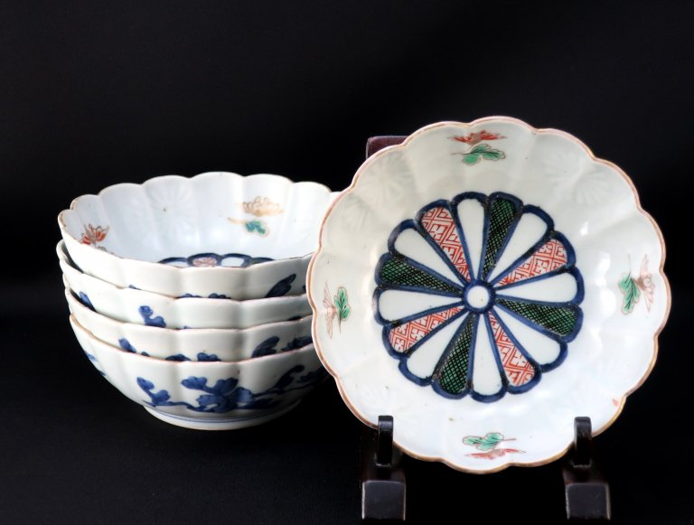 伊万里色絵菊花形なます皿 五枚組 / Imari Polychrome Chrysanthemum-flower shaped 'namasu' Bowls  set of 5