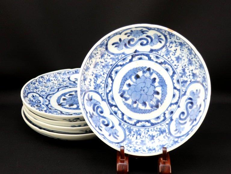 伊万里染付萩唐草窓絵文六寸皿 五枚組 / Imari Blue & White Plates  set of 5