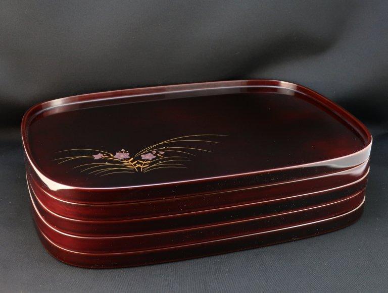 輪島塗卓上膳 五枚組 / Wajima-lacquered Trays  set of 5
