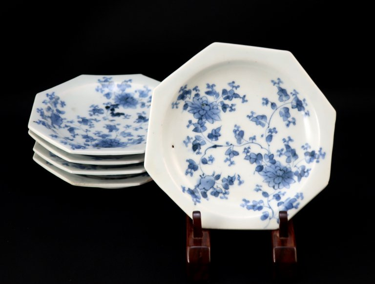 伊万里染付菊唐草文八角皿 五枚組 / Imari Octagonal Blue & White Plates  set of 5