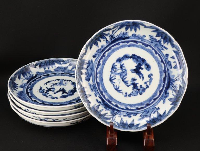 伊万里染付竹文六寸皿 五枚組 / Imari Blue & White Plates  set of 5